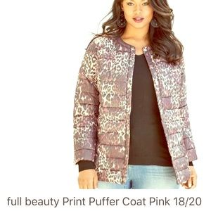 Full Beauty Pink camouflage puffer coat 18/20
